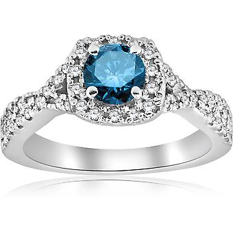 1ct Blue Diamond Engagement Ring 14K witgoud