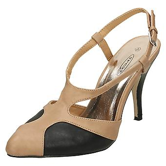 Ladies Spot On Heeled Ankle Sling Pointed Toe Court Shoe
