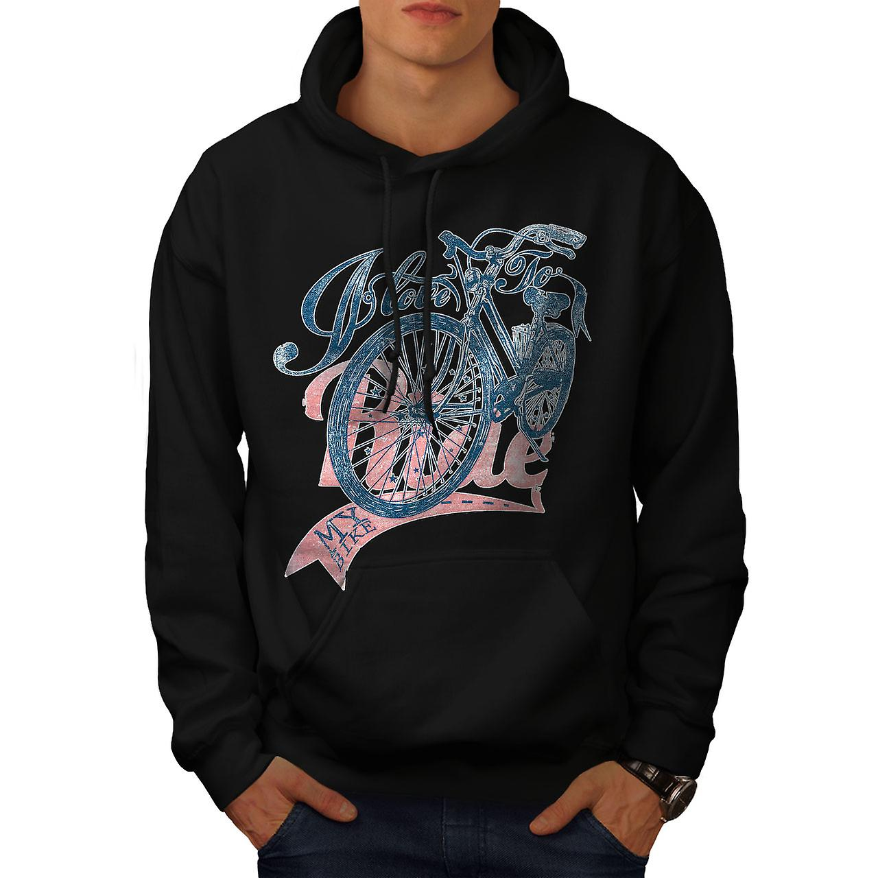 I Love To Ride Slogan Men Black Hoodie | Wellcoda