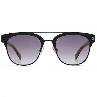 Hook LDN Faraway Stainless Steel Clubmetal Brow Bar Sunglasses In Matte Black & Matte Blue