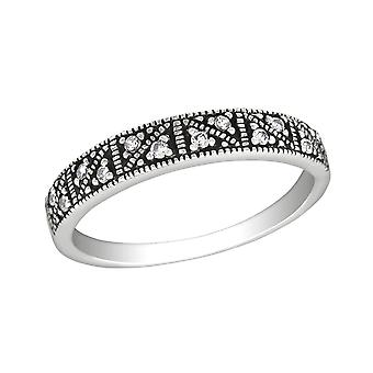 Patterned - 925 Sterling Silver Jewelled Rings - W30144X