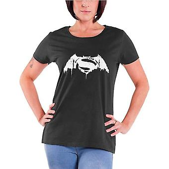 Batman vs Superman T Shirt Beaten Logo Official Womens New Charcoal Skinny Fit