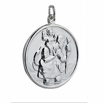 Zilver 30mm ronde St Christopher Pendant