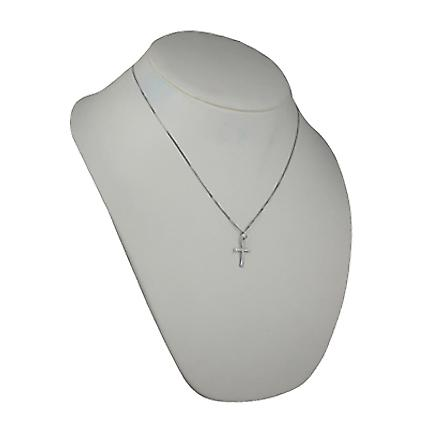 9ct White Gold 19x13mm plain embossed fancy shape Cross with a curb Chain 20 inches