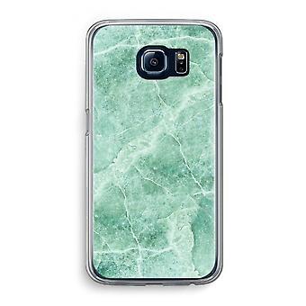Samsung Galaxy S6 Transparent Case - Green marble