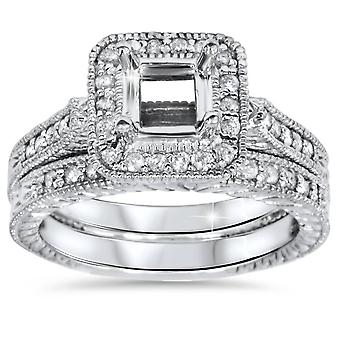 1/2ct Diamond Vintage Style Engagement Ring Setting Set