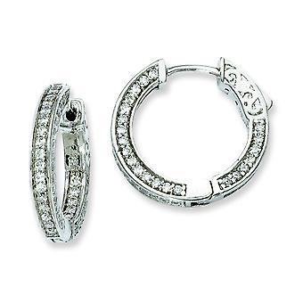 Sterling Silver Hinged Polished Safety clasp Rhodium-plated Cubic Zirconia Round Hoop Earrings