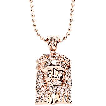 Iced out bling micro pave necklace - MINI JESUS rose gold