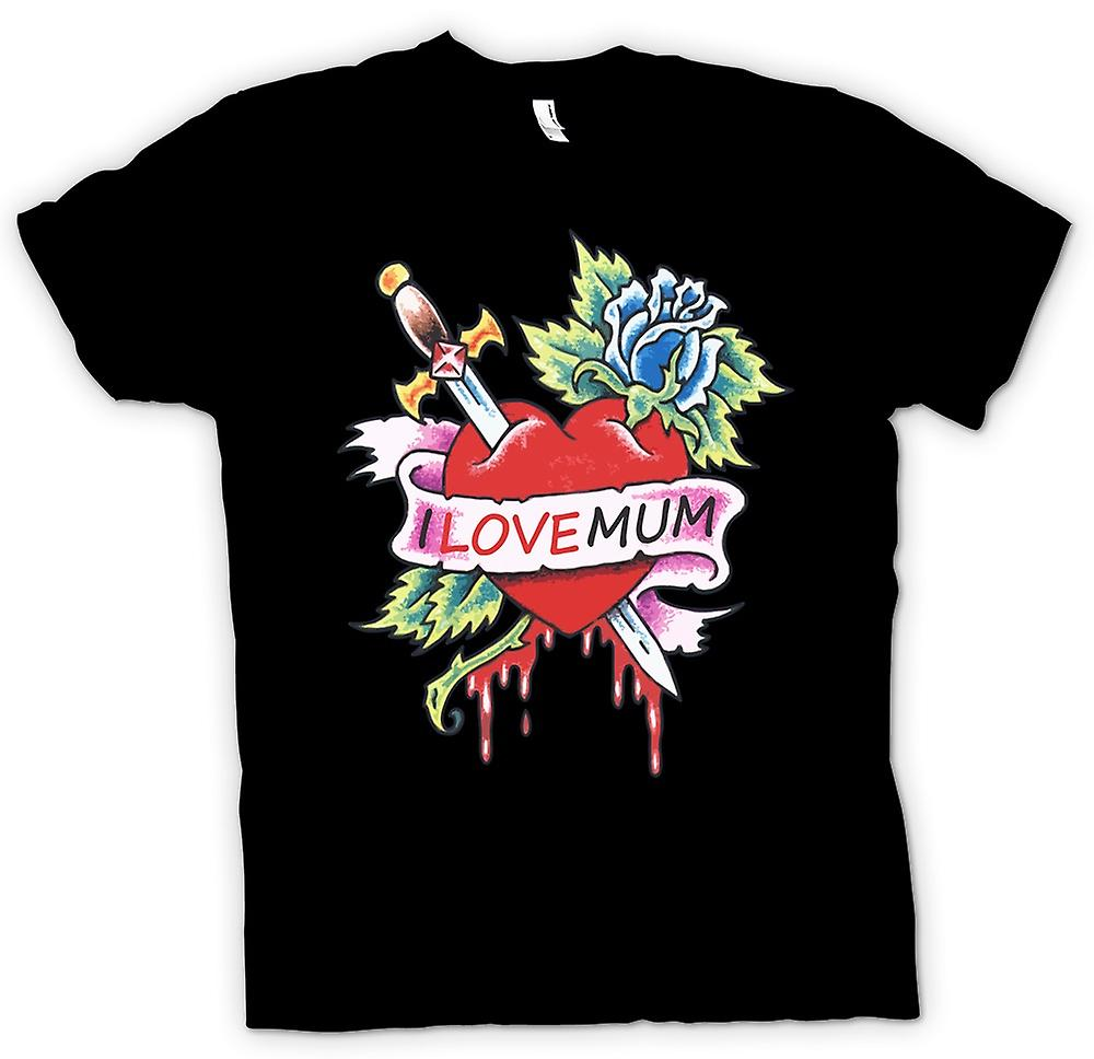 Mens T-shirt - I Love Mum - Cool Tattoo