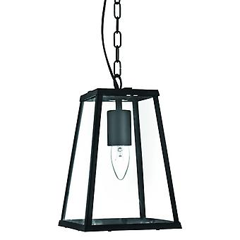 Voyager 1 Light Lantern Tapered Black With Clear Glass