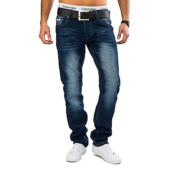 Mens of classic jeans stone washed denim slim fit jeans pants Blau stretchable