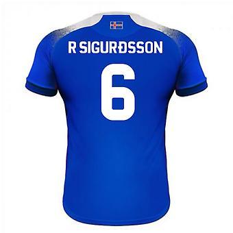 2018-2019 أيسلندا آريا المنزل كرة القدم قميص (سيجوردسون ص 6)
