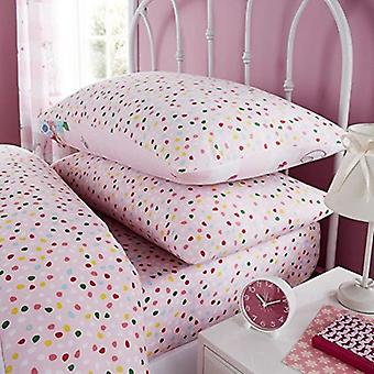 Oh Deer Pink Confetti Single Fitted Sheet And Pillowcase Set