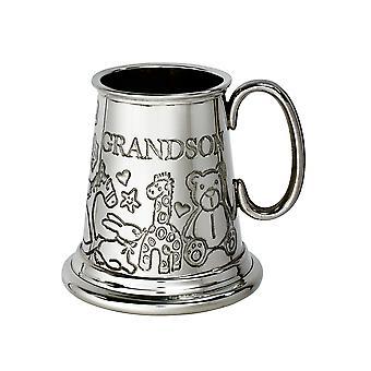 Grandson Pewter Quarter Pint Baby Mug