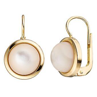 Mother of Pearl ronde los 333 Gold Yellow Gold 2 moeder Pearl stenen oorbellen