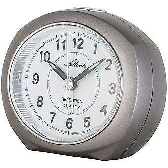 アトランタ 1593/4 目覚まし時計石英無煙炭の灰色の光スヌーズでカチカチ音をたてることがなく静かに