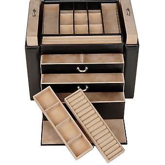 Sacher joyería caja joyero de nuevo clásico negro con llave con la cerradura