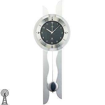 Дистанционно управляемые настенные часы радио настенные часы с маятником деревянной задней стены серебра минеральное стекло