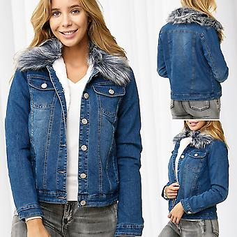 Ladies Jeans Jacket Fur Collar Warm Lined Fur Removable Transition Winterjacket