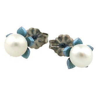 Ti2 Titanium Small Flower and Pearl Stud Earrings - Sky Blue
