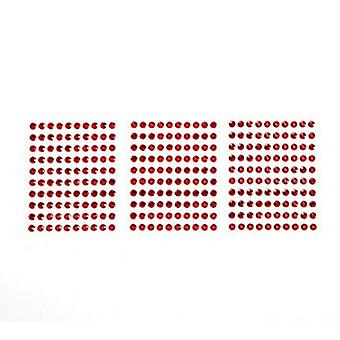 SALE - 300 4mm Red Self Adhesive Jewels for Crafts