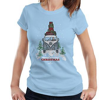 Official Volkswagen Christmas Camper White Text Women's T-Shirt