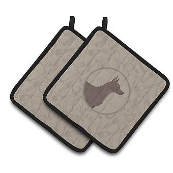 Mexican Hairless Dog Xolo In the Kitchen Pair of Pot Holders