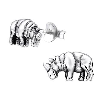 Rhinoceros - 925 Sterling Silver Plain Ear Studs - W26758x