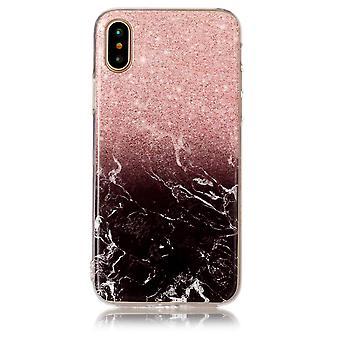 TPU Skal Marmor till iPhone X - Rosa / Svart