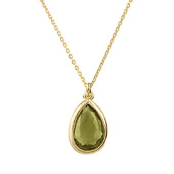 Latelita Small Mini Gemstone Pendant Necklace Gold Green Peridot Olive Silver