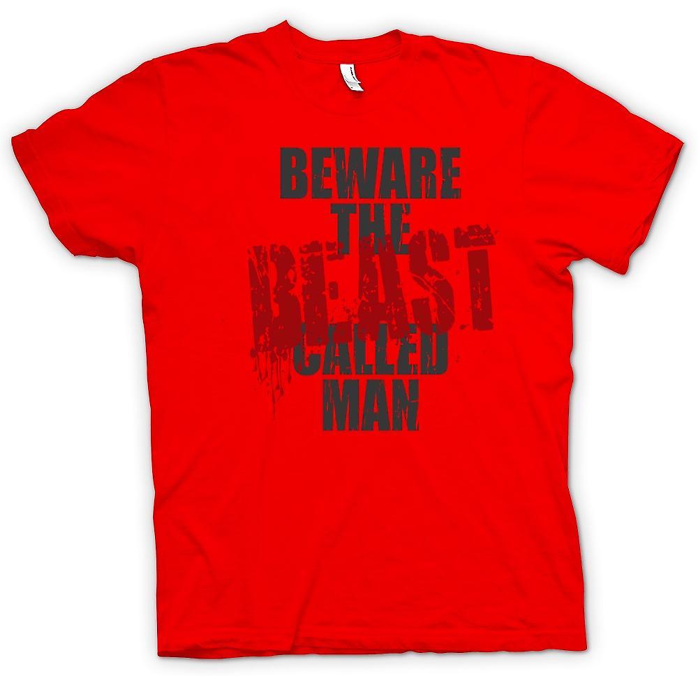 Mens T-shirt - Vorsicht das Tier namens Mann - lustig