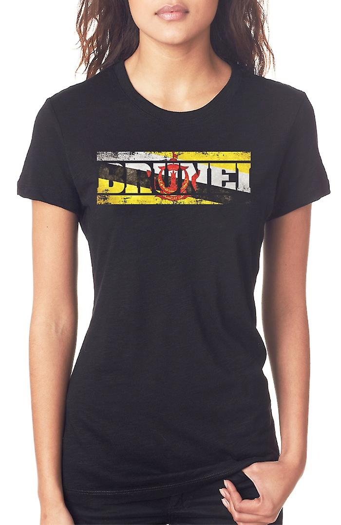 Bruneian Brunei Flag - Words Ladies T Shirt
