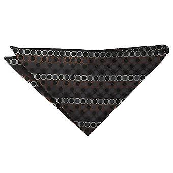 Black, Brown & Silver Honeycomb Polka Dot Handkerchief / Pocket Square