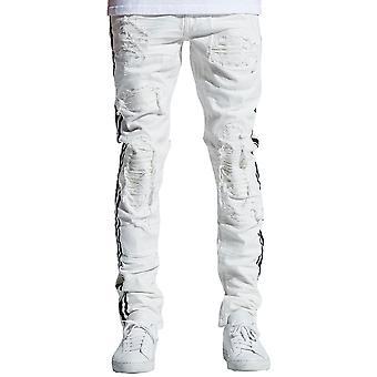 Embellish Bolt Standard Denim Jeans in White
