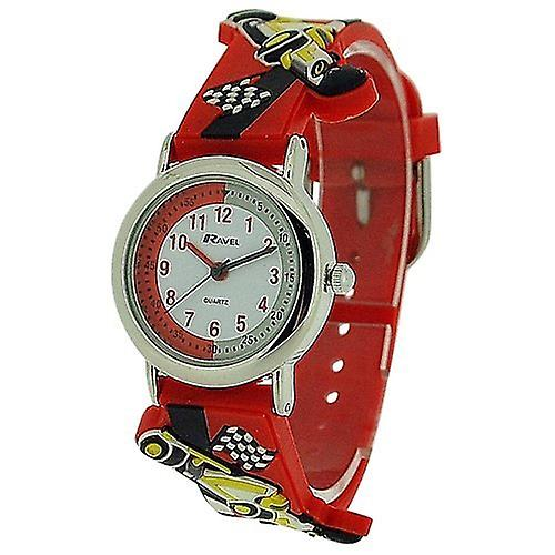Ravel Time Teacher Racing Car Red Rubber Strap Watch + Telling Time Award