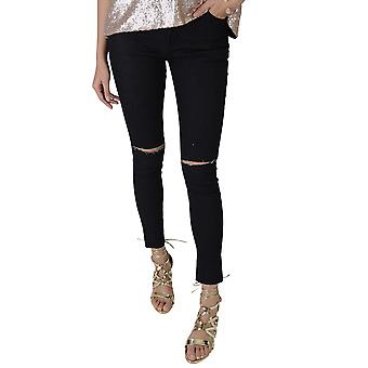 Lovemystyle Black Skinny Jeans With Slit Knee Design - SAMPLE