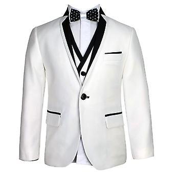 SIRRI Exclusive White & Black Single Button Boys Suit