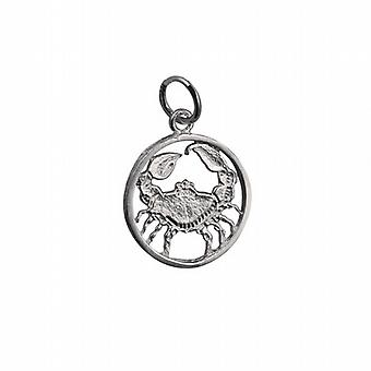 Silver 11mm pierced Cancer Zodiac Pendant