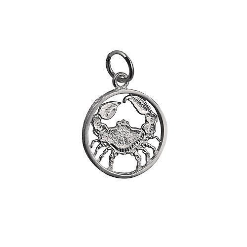 Silver 11mm pierced Cancer Zodiac Pendant