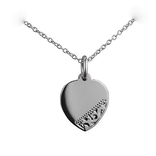 Silver 16x14mm hand engraved heart Disc with a rolo Chain 16 inches Only Suitable for Children