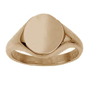 9ct Rose Gold 14x12mm solid plain oval Signet Ring Size W
