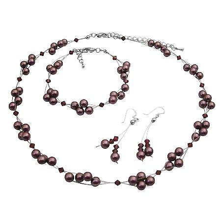 Swarovski Burgundy Pearls & Crystals Bridesmaid Jewelry Set