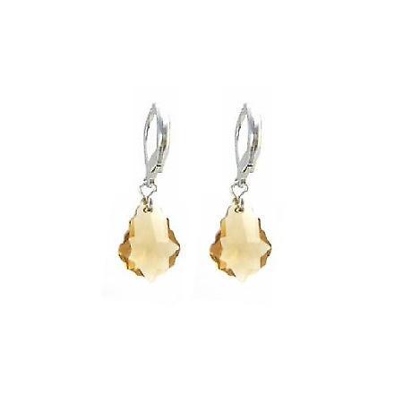 Swarovski Lite Colorado Baroque Crystal 92.5 Silver Leverback Earring