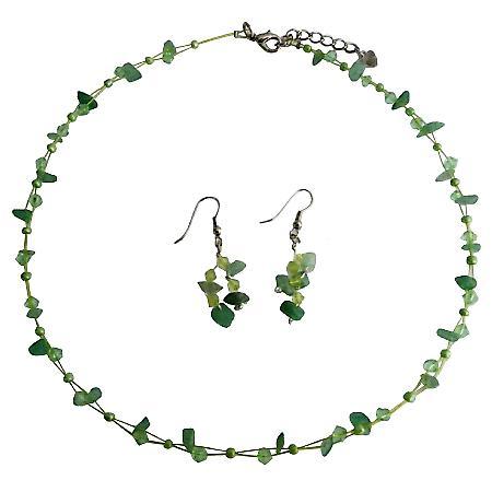 Fashionable Bead Jewelry Peridot And Jade Stone Chips Jewelry Set