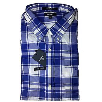 GANT Bel aire popelín hombres equipados camisa de manga larga - azul
