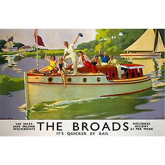(Norfolk) Broads (old rail ad.) fridge magnet   (se)