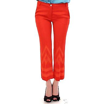 Versace Jeans Red Pants Cropped 3/4 Short Nude Capri -- ITD1986757
