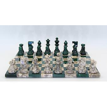 Green & Grey Basic Alabaster Chess Set