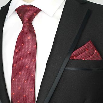 Deep red & light ditsy dot pattern pocket square & tie