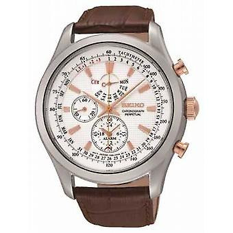 Seiko Mens Stainless Steel White Dial Brown Leather SPC129P1 Watch